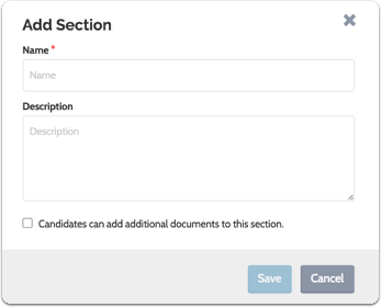 """Enter a name and description for the section and click """"Save"""""""