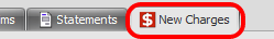 3. Open the New Charges Tab