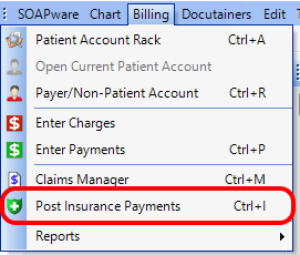 1. Open the Post Insurance Payments Dialog