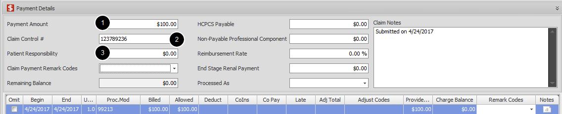7. Enter Claim Payment Amount