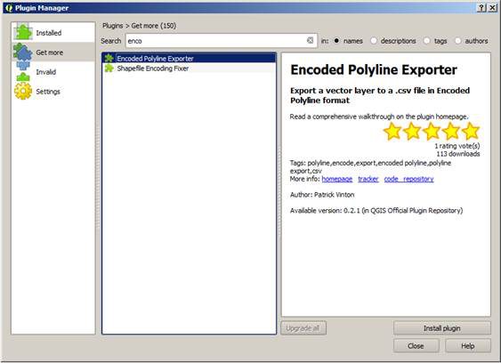 Install the Encoded Polyline Exporter plugin