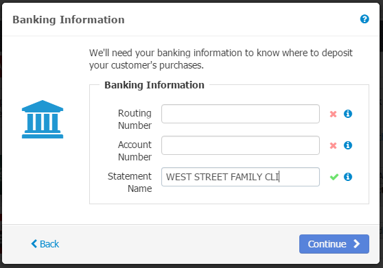 - Enter Banking Information