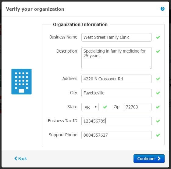 - Verify your Organization Information