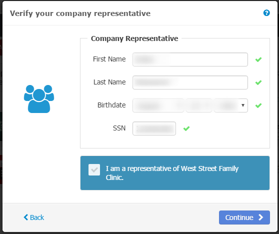 - Enter the Company Representative