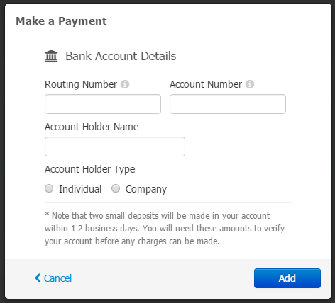 - Manually Verify Bank Account
