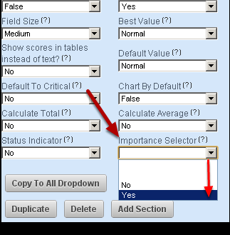 1.3 For the Fields Advanced Properties set the Importance Selector to Yes. Then, an additional field will appear for you to select.