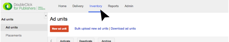 Click Inventory to set up a new ad unit.