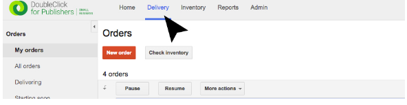 Click the delivery tab to set up an ad order.