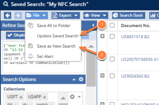 Updating or Modifying a Saved Search