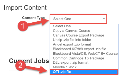 Select Import Type in Canvas course