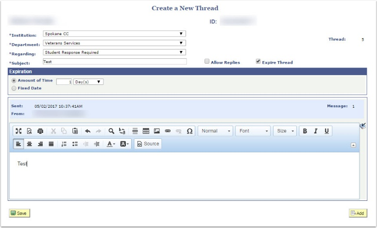 Create a New Thread page