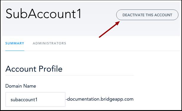 Deactivate Sub Account