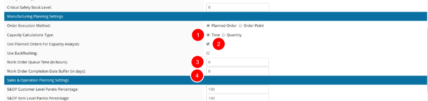 System Settings Related to Capacity Planning