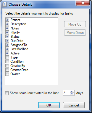 Customize Task View - Choose Details