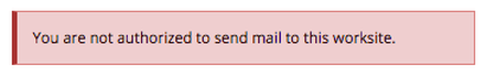 If you are not authorized to send mail, you will see the following message instead.