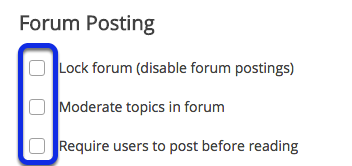 Select forum posting options.