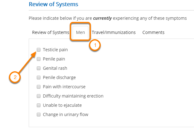 Enter Review of Systems (Men) If Applicable
