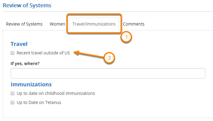 Enter Review of Systems (Travel/Immunizations)