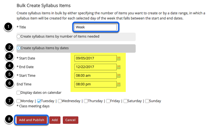 Enter syllabus title and date information.