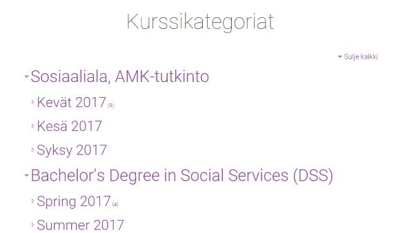 Työpöytä-sivun näkymässä etsi My Courses (Omat kurssit)