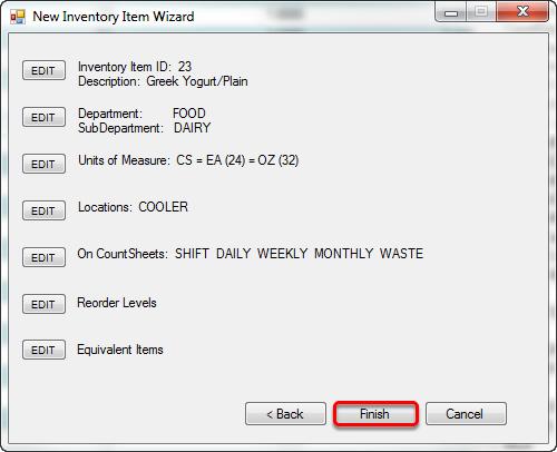 Summary/Editing Window