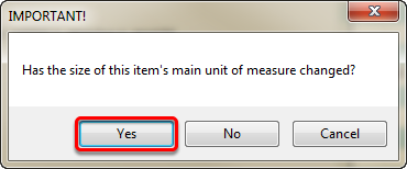 Has the size of this item's main unit of measure changed?