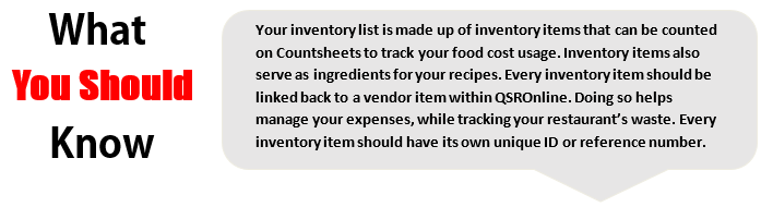 Creating a New Inventory Item
