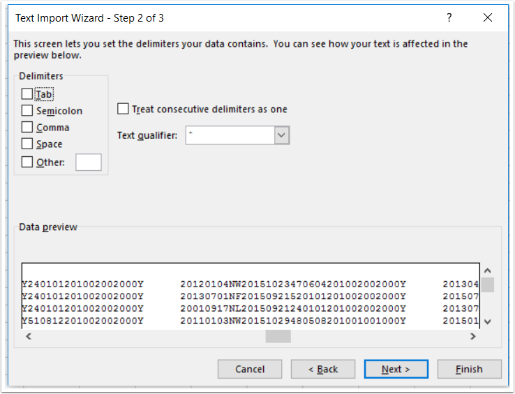Text Import Wizard - Step 2 of 3
