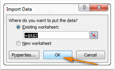 Import Data page