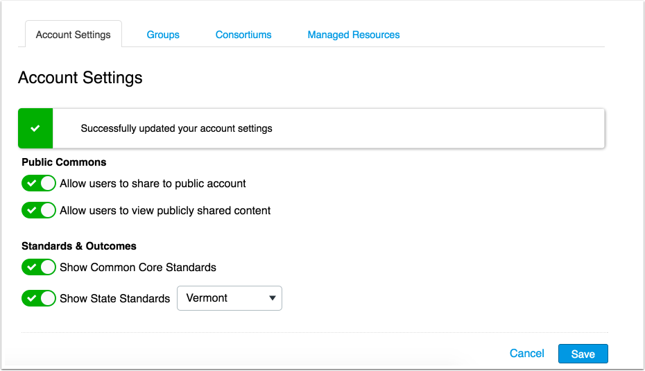 View Updated Account Settings