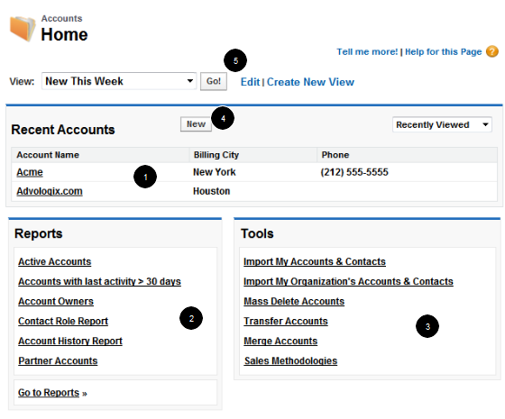 Accounts home page