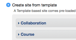 Create site from template (default selected) option