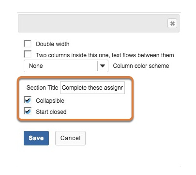 Enter section title and collapsible settings.