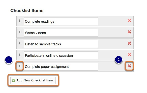 Enter or edit items for the checklist.