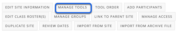 Click on the Manage Tools Tab