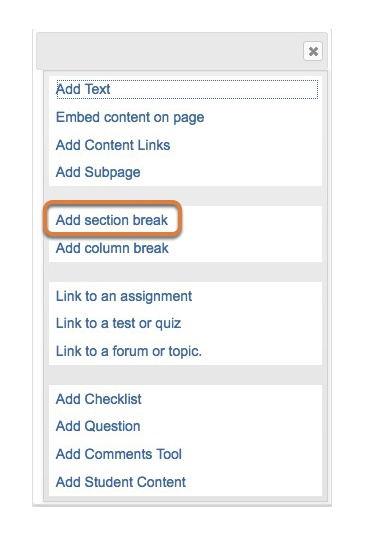Click Add section break.