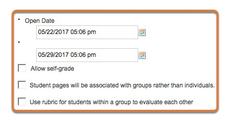 Enter the availability dates and the optional settings for the rubric.