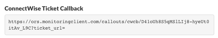 ConnectWise Ticket Callback