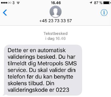 Du vil nu få tilsendt en sms