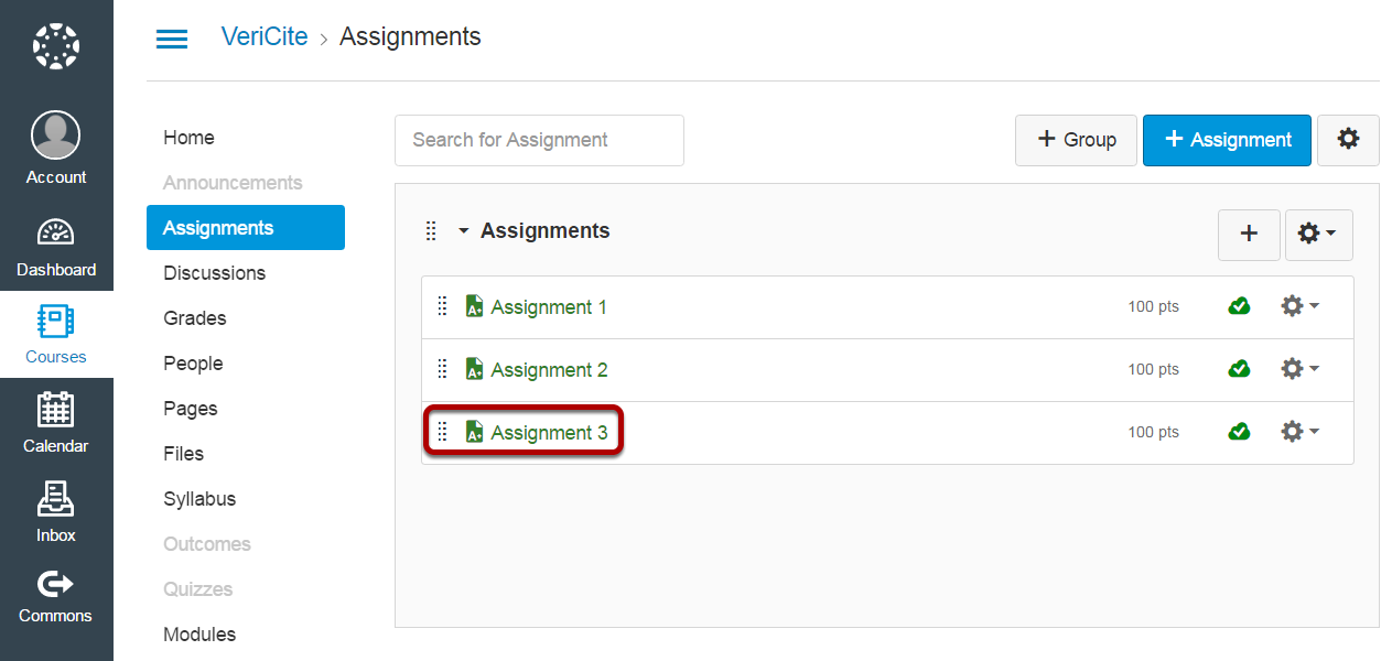 Click on the assignment you want to view or grade.
