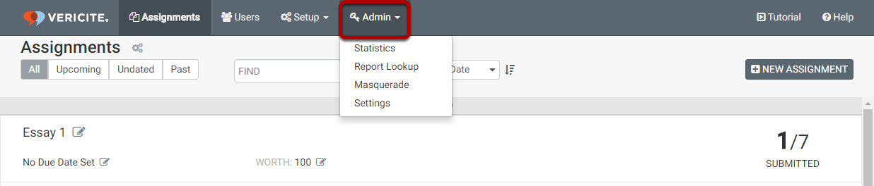 Click on the Admin tab in VeriCite to access the admin features.