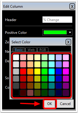 4. Select the color you would like associated with the positive, zero, or negative value.
