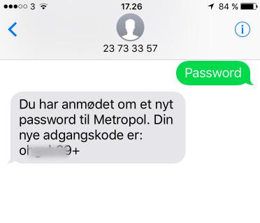 Du modtager nu dit nye midlertidige password på en sms