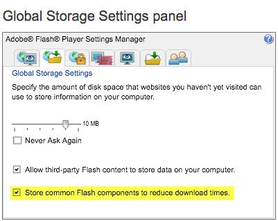 "Step 6 - REcheck the ""Store common Flash components to reduce download times"" checkbox."