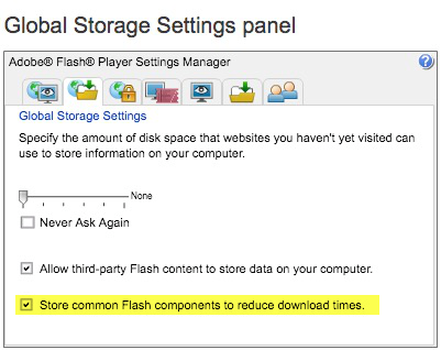 "Step 4 - UNcheck the ""Store common Flash components to reduce download times."""