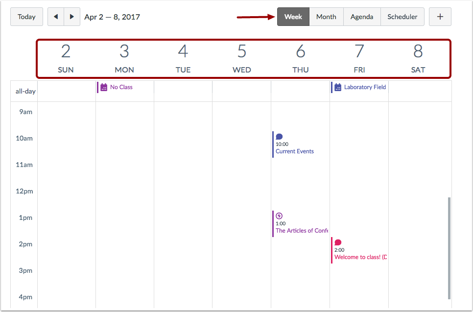 View Calendar by Week