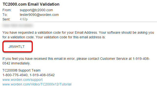 3. Check your email account for an email with the subject TC2000.com Email Validation and locate the 7 digit code.
