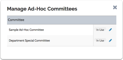 Click the edit pencil to rename a committee, or X to delete it