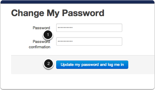 Enter your new password and login