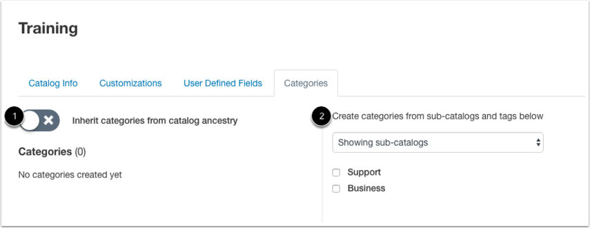 Add Subcatalog Categories